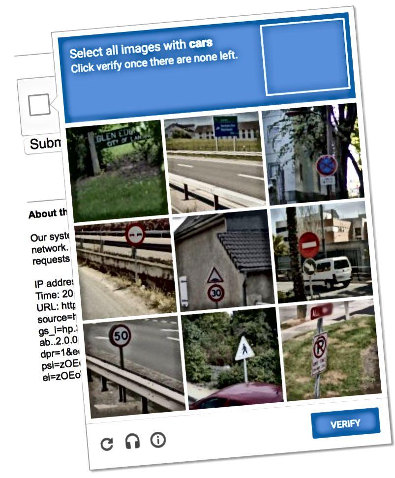 Slika 2: Jedna od težih CAPTCHA varijacija. Morate nastaviti kliknuti slike koje prikazuju automobile sve dok ih svi ne nestanu, poput virtualnog whack-a-mola koristeći slike.
