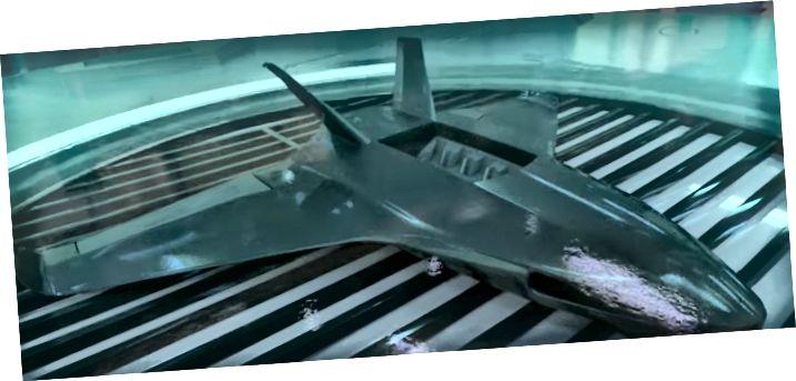 BAE Systems Rendering einer Drohne, die durch den Chemputing-Prozess in einem Bottich gezüchtet wurde.