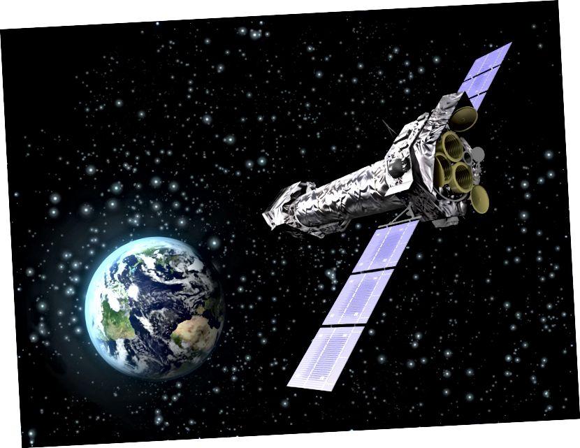 Kesan seniman tentang teleskop sinar-X Newton XMM (ESA)