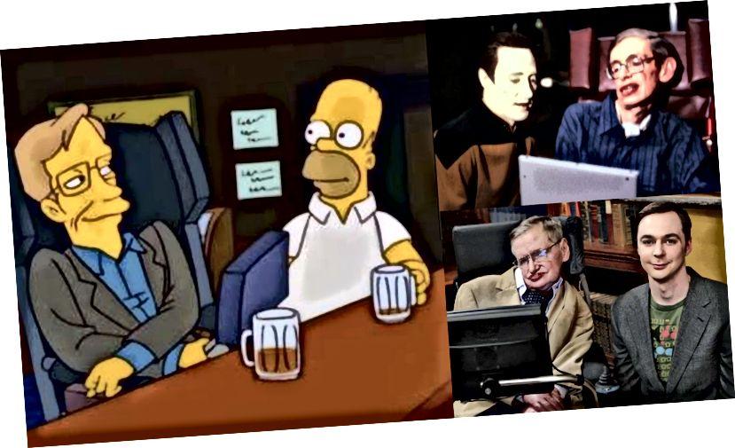 Az idő rövid története felhívta Hawkingot a popkultúra elismerésére, amely olyan ikonok mellett jelenik meg, mint a Data Commander, Sheldon Cooper és Homer Simpson (FOX / CBS).