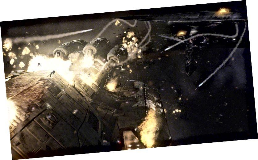 Kaotikus, robbanásveszélyes jelenet a Battlestar Galactica-tól (2004), amely a mai vitatottan legnagyobb sci-fi csaták forrása.