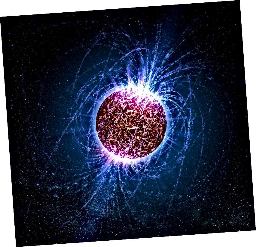 Нейтронная зорка, нягледзячы на тое, што ў асноўным складаецца з нейтральных часціц, стварае наймацнейшыя магнітныя палі ў Сусвеце. Крэдыт малюнка: НАСА / Кейсі Рыд - Універсітэт штата Пэн.