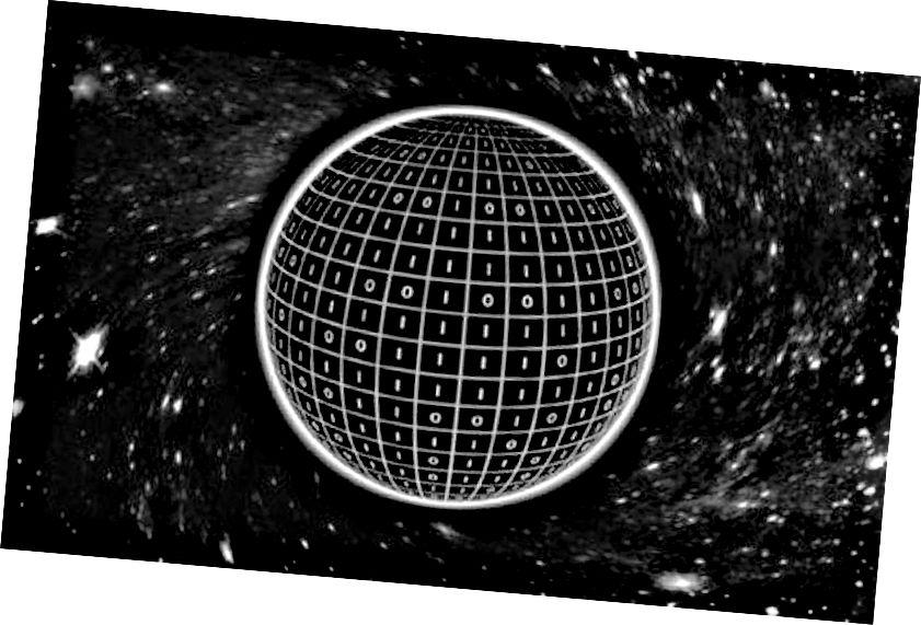 ブラックホールの表面にエンコードされるのは、イベントホライズンの表面積に比例する情報のビットです。 (TB Bakker / JP van der Schaar博士、Universiteit van Amsterdam)