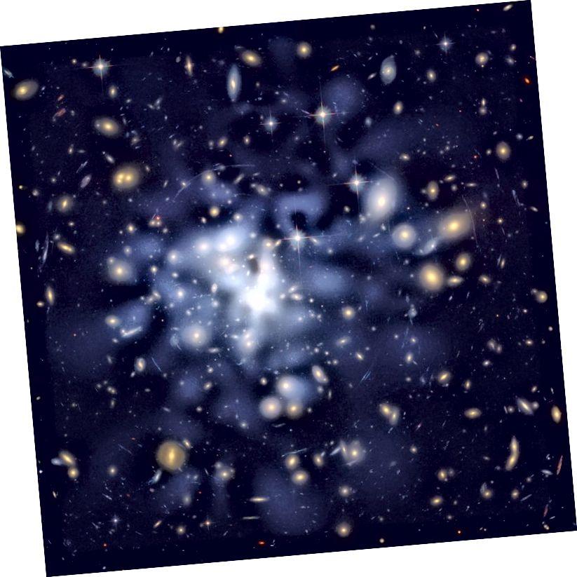 Dieses Bild vom Hubble-Weltraumteleskop zeigt die Verteilung der Dunklen Materie im Zentrum des riesigen Galaxienhaufens Abell 1689 - US News