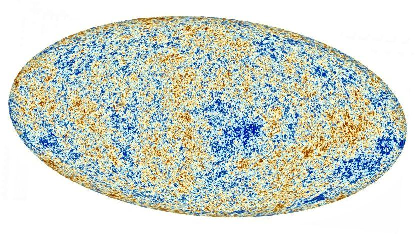 Die Schwankungen im kosmischen Mikrowellenhintergrund sind von so geringer Größe und von so besonderem Muster, dass sie stark darauf hinweisen, dass das Universum überall mit der gleichen Temperatur begann und insbesondere dunkle Materie, normale Materie und dunkle Energie enthält. (ESA und die Planck-Zusammenarbeit)