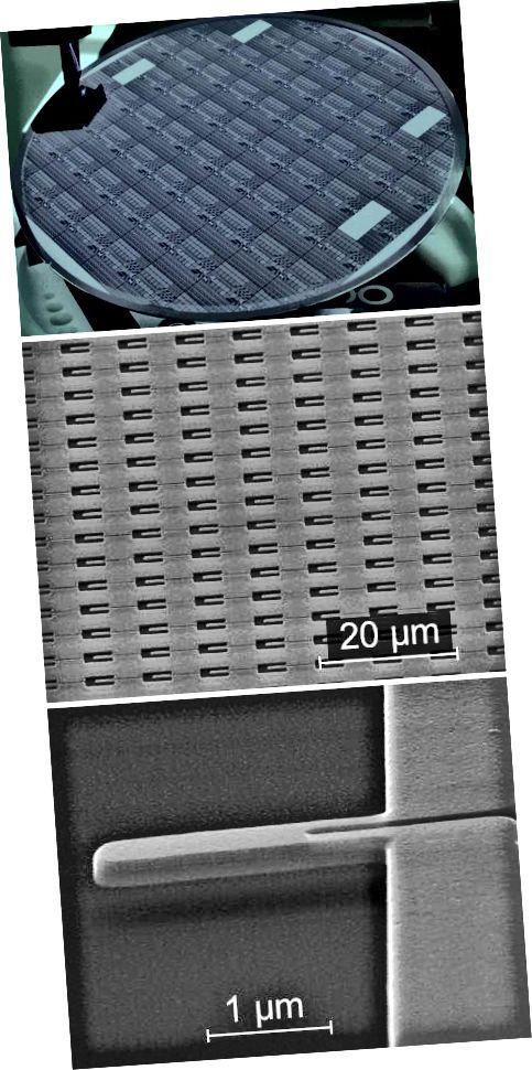 Eagar Braiteora: Tá eagair dlúth braiteoirí nanaileictreomeicniúla (lár) ar abhlann sileacain 200-mm-trastomhas (barr). Tá gach braiteoir thart ar 2.5 µm ar fhad (bun).