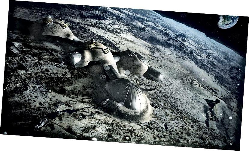 ESA-Konzept für Mondbasen, die durch eine Schutzhülle aus Regolith vor Strahlung geschützt sind. Quelle: Europäische Weltraumorganisation (geteilt unter CC BY-SA 4.0)