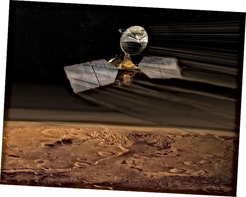Ein künstlerischer Eindruck vom Mars Reconnaissance Orbiter Aerobraking. Quelle: NASA