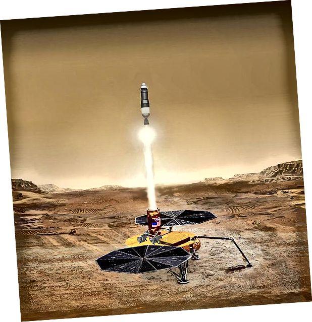 Der Eindruck eines Künstlers von einem Mars-Probenrückgabefahrzeug, das zur Erde zurückkehrt. Quelle: NASA