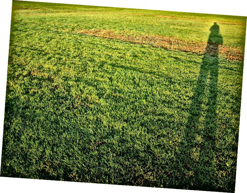 Scáth an duine ar maidin, le Dave Shaver de flickr faoi cheadúnas cc le 2.0, trí https://www.flickr.com/photos/daveshaver/2932079992.