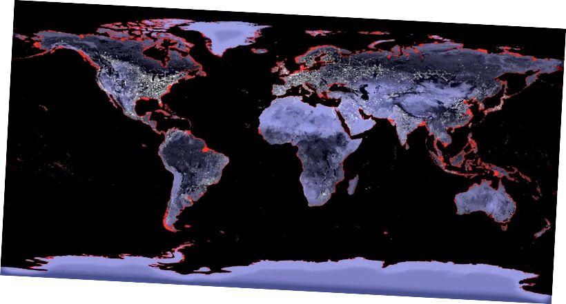Karte der Erde mit roten Bereichen, die sich unter Wasser befinden würden, wenn der Meeresspiegel um 6 Meter ansteigen würde. Die Tatsache, dass Sie auf dieser Skala überhaupt Rot sehen können, ist schockierend.