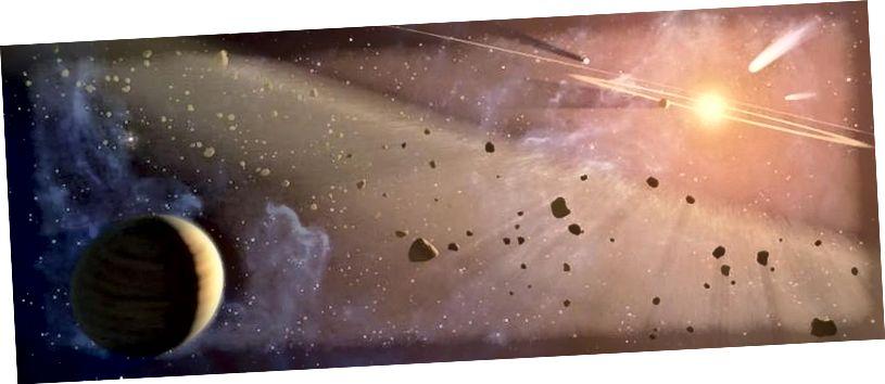 Tata Surya awal dipenuhi dengan komet, asteroid, dan gumpalan kecil materi yang melanda hampir setiap dunia di sekitarnya. Periode ini secara historis dikenal sebagai pemboman yang sangat dahsyat, dan diperkirakan telah membawa banyak bahan untuk kehidupan, tetapi bukan organisme hidup sendiri, ke Bumi. (NASA)