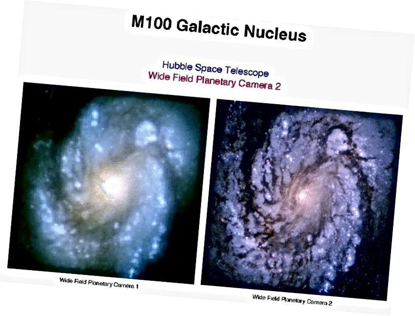 Розніца да і пасля WFPC1 і WFPC2. Крэдыт малюнка: NASA / STScI, праз http://hubblesite.org/newscenter/archive/releases/1994/01/.