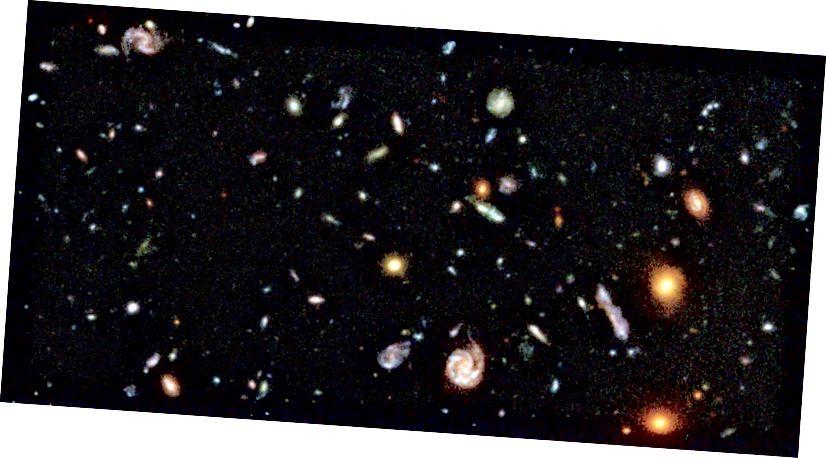 8 адсоткаў арыгінальнага Hubble Deep Field. Ідзі і палічы іх! Крэдыт малюнка: Р. Уільямс (STScI), палявая каманда Хабла і NASA.