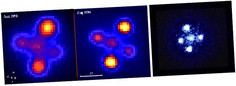 Два наземныя выявы (злева) і выява Хабла 1990 года (справа) таго ж чатырохсэнсоўнага далёкага квазара, вядомага як Крыж Эйнштэйна.