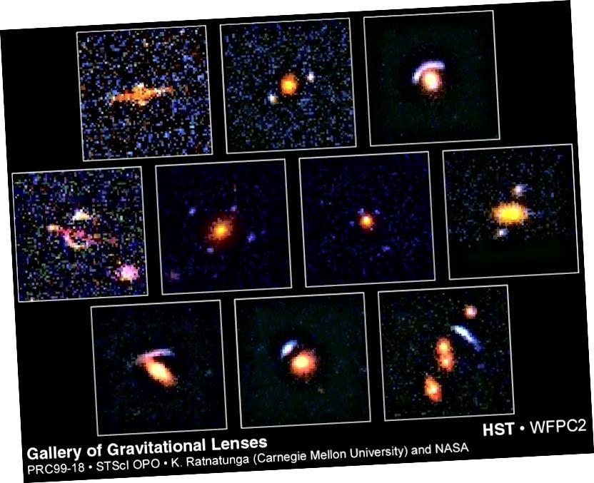 Серыя гравітацыйных лінзаў, знойдзеных Hubble. Крэдыт малюнка: Каван Ратнатунга (Універсітэт Карнегі-Меллона) і НАСА / ЕКА.