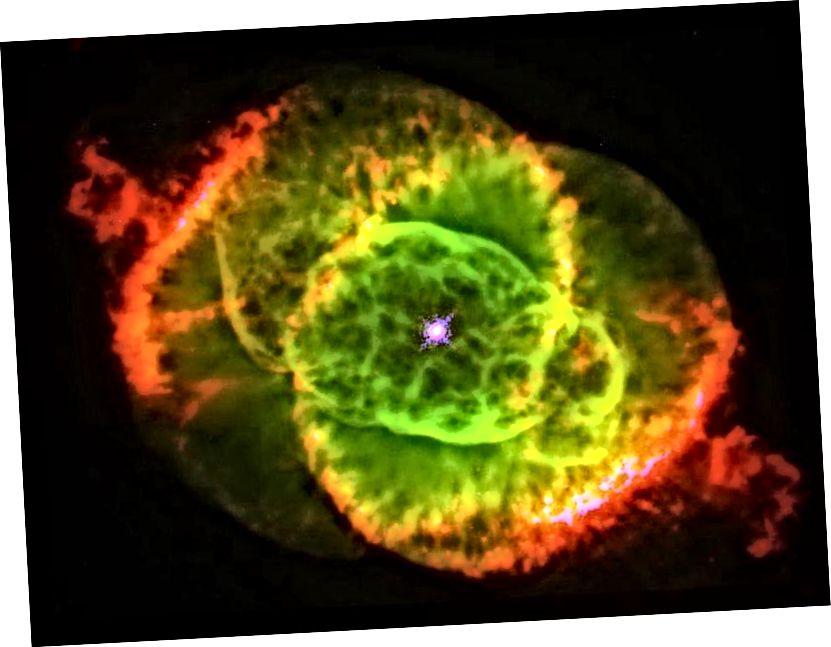 Першая выява Хабла з туманнасці кацінага вачэй. Малюнак: JP JP Harrington і KJ Borkowski (University of Maryland), і NASA / ESA.