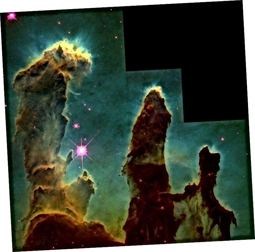 Арыгінальныя выявы Слупоў Стварэння ў цэнтры туманнасці Арла. Крэдыты: NASA, Джэф Хестэр і Пол Сковен (Арызонскі дзяржаўны універсітэт).