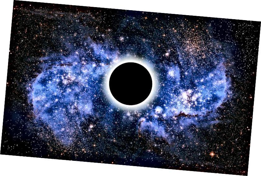 Պարզ սև շրջանակը պատկերող գեղարվեստական գործը, թերևս դրա շուրջը օղակով, արտացոլված պատկեր է, թե ինչպիսին է իրադարձության հորիզոնը: Պատկերային վարկ. Վիկտոր դ Շվանբերգ: