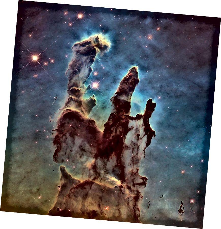 Абнаўленне Слупоў стварэння, заснаванае на дадзеных 20 гадоў Габла. Крэдыт малюнка: NASA, ESA / Hubble і каманда па спадчыне Хабла; Пацвярджэнне: П. Сковен (Арызонскі дзяржаўны універсітэт, ЗША) і Дж. Хестэр (раней Арызонскі дзяржаўны універсітэт, ЗША).