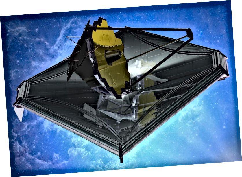 Жнівень 2013 г. Фрэска касмічнага тэлескопа Джэймса Уэбба. (Уражанне мастака.) Касмічны тэлескоп Джэймса Уэбба запусціць у 2019 годзе і стане нашай самай вялікай інфрачырвонай абсерваторыяй калі-небудзь, дэманструючы рэчы, якія мы ніколі не знойдзем. Малюнак: Northrop Grumman.
