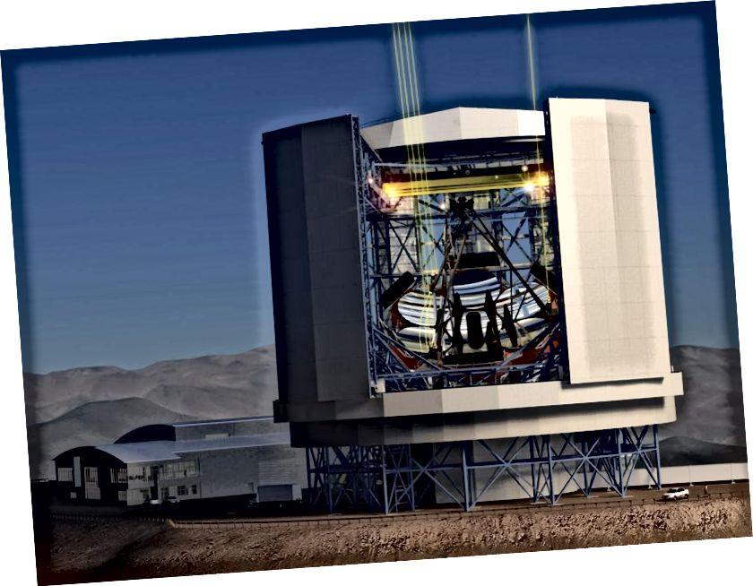 Выгляд збоку завершанага ГМТ, як ён будзе выглядаць у корпусе тэлескопа. Ён зможа выявіць падобныя да Зямлі светы за 30 светлавых гадоў, а Юпітэру - шмат сотняў светлавых гадоў. Крэдыт на выявы: Гіганцкі тэлескоп Магелан - карпарацыя GMTO.