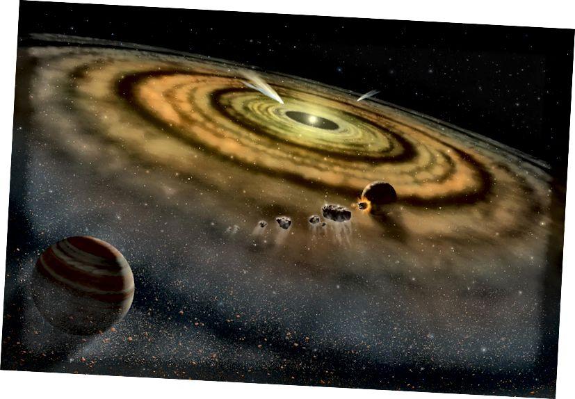 Umjetnikova koncepcija prašine i plina koji okružuju novoformirani planetarni sustav (NASA)