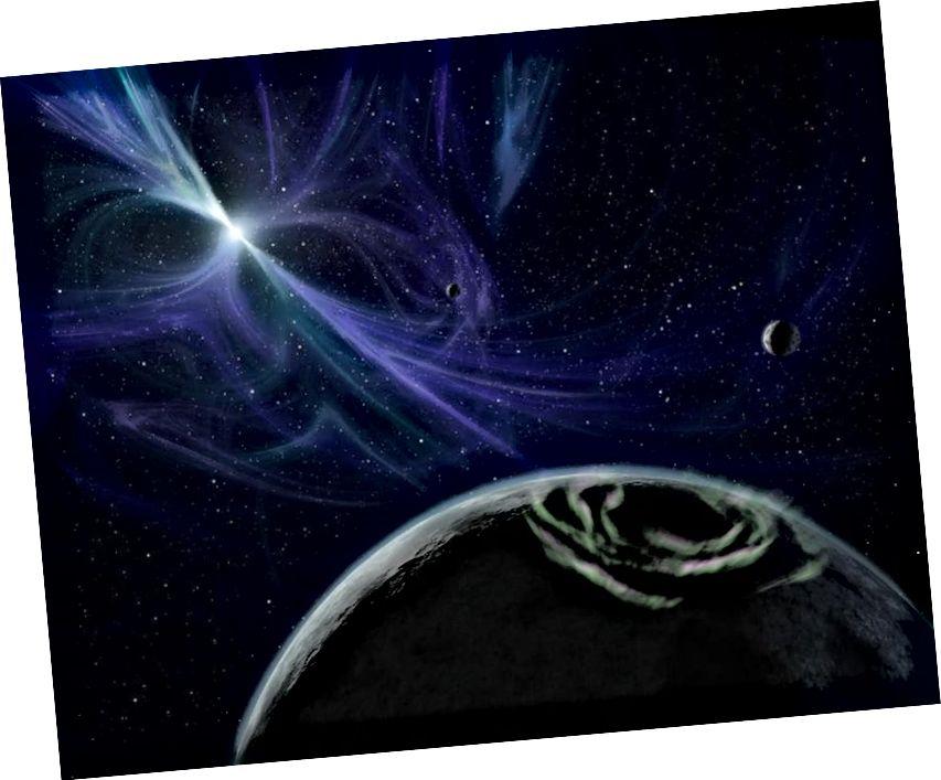Coincheap an ealaíontóra ar domhan timpeall PSR 1257 + 12, an chéad chóras (a aimsíodh 1992) le pláinéid eachtardhomhanda fíoraithe. Is féidir le pláinéid a bheith ag córais pulsar, ach ní léiríonn siad eachtrannaigh iad féin. Ar a laghad, ní mar a aithnímid faisnéis eachtrannach. Creidmheas íomhá: NASA / JPL-Caltech / R. Hurt (SSC).