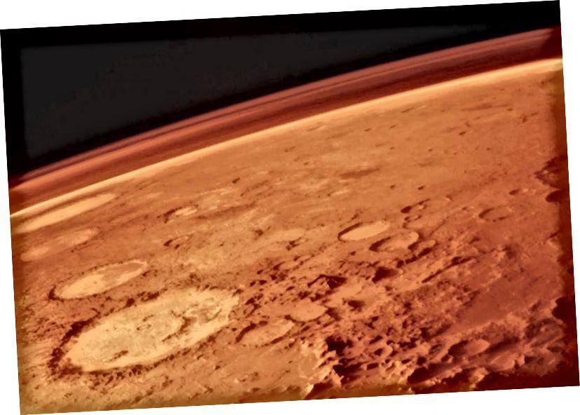 Марс, разам са сваёй тонкай атмасферай, сфатаграфаваны з арбітараў вікінгаў у 1970-х. Нават з цяжкасцямі, звязанымі з пражываннем на Чырвонай планеце, паспяховая чалавечая калонія можа быць дасягнута ўсяго за 50 мільярдаў долараў. Малюнак: NASA / Viking 1.
