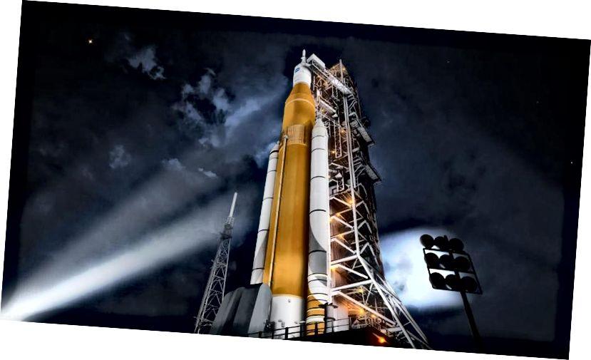 Канцэпт-апарат касмічнага стартавага апарата (SLS), першапачаткова задуманы як дызайн, здольны даставіць людзей на Марс. Замест таго, каб перабудоўваць гэтыя праекты для іншых, меншых мэтаў, чаму б проста не імкнуцца ажыццявіць нашы сапраўдныя мары? Чаму б не пайсці на Марс? Малюнак: НАСА.