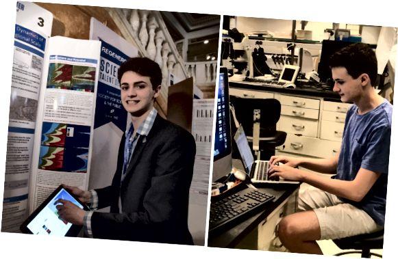 Der Gewinner des ersten Platzes, Benjy Firester, präsentierte seine Forschungsergebnisse auf der öffentlichen Ausstellung Regeneron Science Talent Search 2018 mit Projekten (links) und Arbeiten im Labor (rechts).