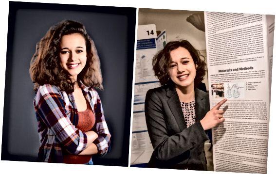 Die Zweitplatzierte Natalia Orlovsky (links) und ihre Forschungsergebnisse auf der öffentlichen Projektausstellung Regeneron Science Talent Search 2018 (rechts).
