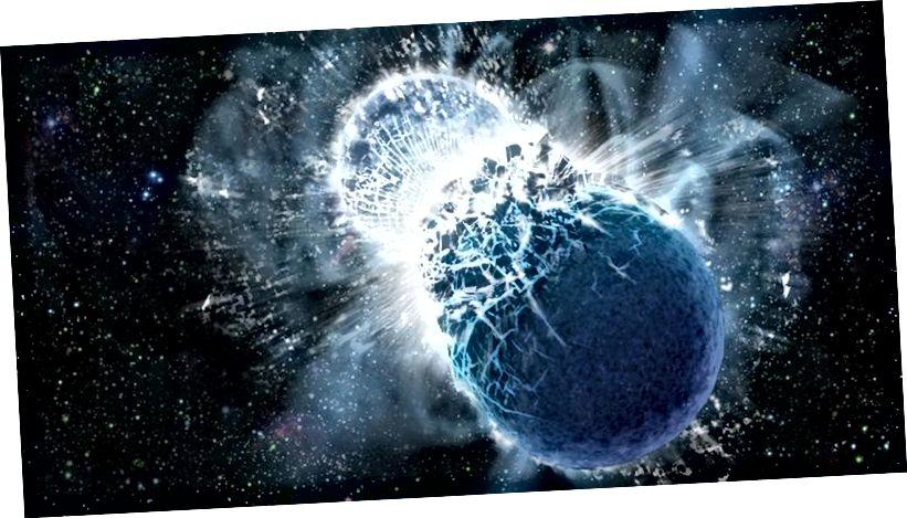 Зорныя нейтроны, калі яны зліваюцца, могуць дэманстраваць гравітацыйныя хвалі і электрамагнітныя сігналы амаль адначасова. Але дэталі зліцця даволі дзіўныя, бо тэарэтычныя мадэлі не зусім адпавядаюць таму, што мы назіралі. Крэдыт малюнка: Dana Berry / Skyworks Digital, Inc.