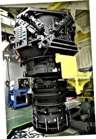 O Hyper Suprime-Cam (HSC) montado no foco principal do telescópio Subaru. Crédito de imagem: Telescópio Subaru