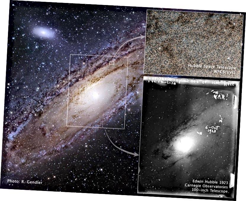 Hubbles Entdeckung einer Cepheid-Variablen in der Andromeda-Galaxie, M31, öffnete uns das Universum. Bildnachweis: E. Hubble, NASA, ESA, R. Gendler, Z. Levay und das Hubble Heritage Team. Bildnachweis: E. Hubble, NASA, ESA, R. Gendler, Z. Levay und das Hubble Heritage Team.