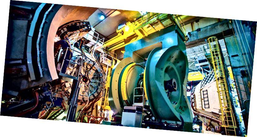 Durch die Kollision von Partikeln bei hohen Energien in einem hoch entwickelten Detektor wie dem PHENIX-Detektor von Brookhaven bei RHIC haben wir die Spinbeiträge von Gluonen gemessen. Bildnachweis: Brookhaven National Laboratory.