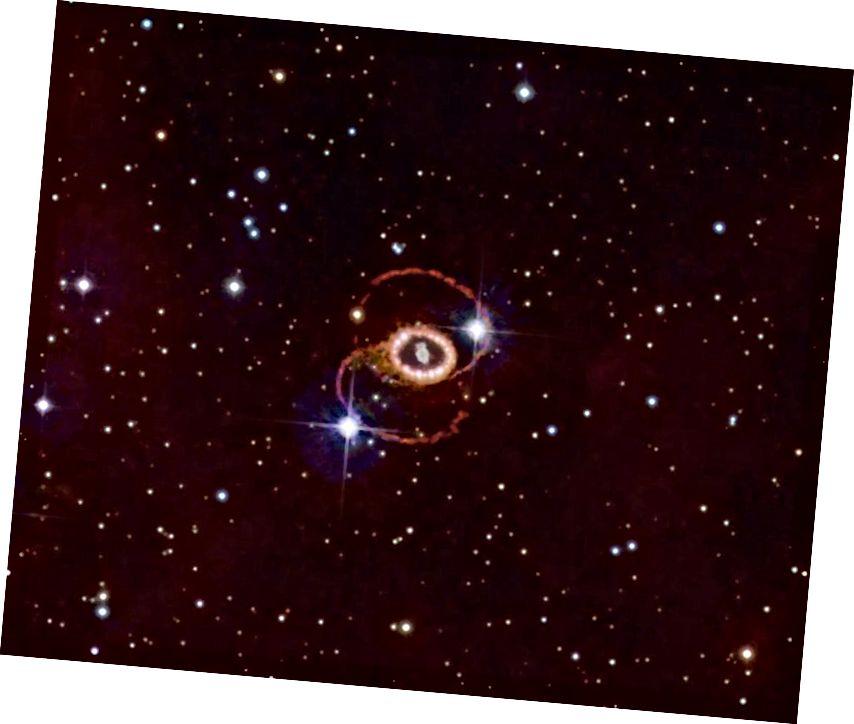 Der Rest der Supernova 1987a befindet sich in der großen Magellanschen Wolke, etwa 165.000 Lichtjahre entfernt. Es war die der Erde am nächsten beobachtete Supernova seit mehr als drei Jahrhunderten. Bildnachweis: Noel Carboni und der ESA / ESO / NASA Photoshop FITS Liberator.