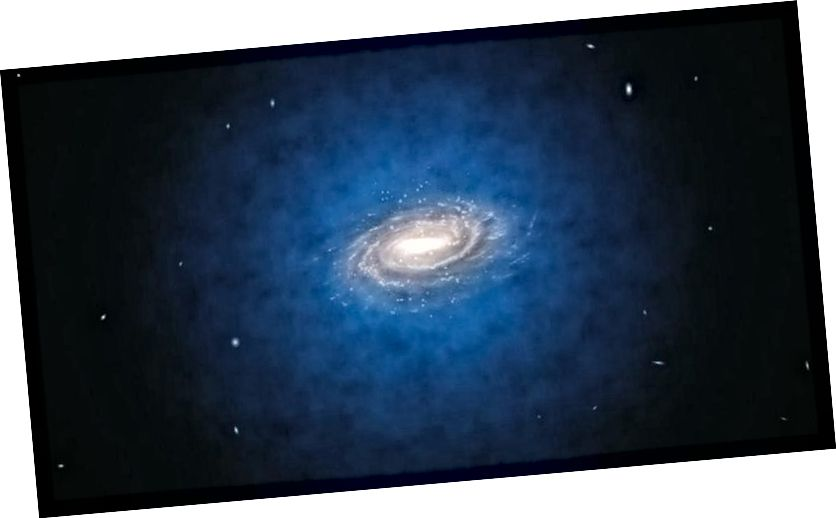 Нават нягледзячы на тое, што большасць цёмнай матэрыі ў галактыцы існуе ў вялікім арэоле, які ахоплівае нас, кожная асобная часцінка цёмнай матэрыі робіць эліптычную арбіту пад уздзеяннем сілы цяжару. Калі цёмная матэрыя - гэта ўласная антычастица, і мы навучымся яе выкарыстоўваць, гэта можа стаць галоўнай крыніцай бясплатнай энергіі. Малюнак: ESO / L. Calçada.