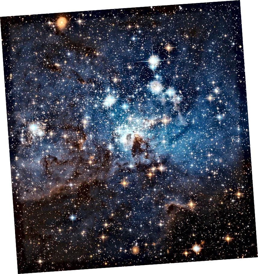 Ein Sternenkindergarten in der Großen Magellanschen Wolke, einer Satellitengalaxie der Milchstraße. Dieses neue, nahe gelegene Zeichen der Sternentstehung mag allgegenwärtig erscheinen, aber die Geschwindigkeit, mit der sich heute im gesamten Universum neue Sterne bilden, beträgt nur wenige Prozent dessen, was es auf seinem frühen Höhepunkt war (NASA, ESA UND THE HUBBLE) HERITAGE TEAM (STSCI / AURA) -ESA / HUBBLE COLLABORATION)