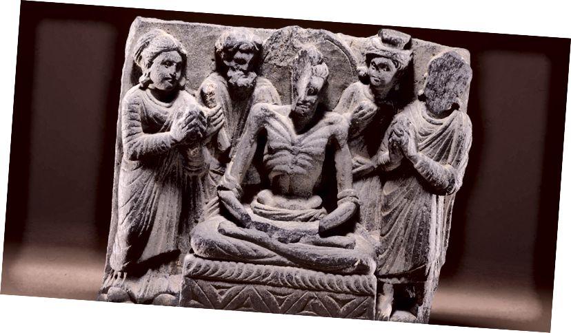 Знясілены Бодхісатва сядзеў на троне, у якім багі і паклоннікі, другое-трэцяе стагоддзе, у Гандхары, праз Брытанскі музей