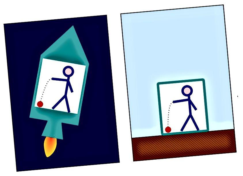 Ідэнтычнае паводзіны шара, які падае на падлогу ў разгоне ракеты (злева) і на Зямлю (справа), з'яўляецца дэманстрацыяй прынцыпу эквівалентнасці Эйнштэйна. Крэдыт малюнка: карыстальнік Wikimedia Commons Маркус Посэль, рэтушаваны Pbroks13.
