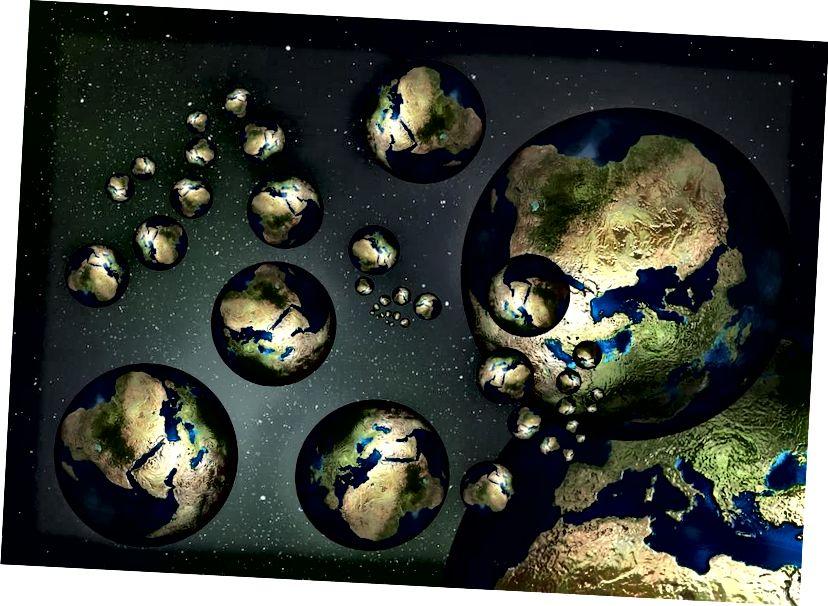 """En representasjon av de forskjellige parallelle """"verdenene"""" som kan eksistere i andre lommer i multiverset. OFFENTLIG DOMAIN"""
