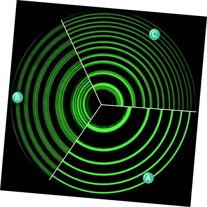 """""""Спектралните линии на живачна лампа на пара с дължина на вълната 546,1 nm, показващи аномален Zeeman ефект. А. Без магнитно поле. B. С магнитно поле спектралните линии се разделят като напречен Zeeman ефект. C. С магнитно поле, разцепено като надлъжен Zeeman ефект. Спектралните линии бяха получени с помощта на еталон Фабри-Перо. Оригиналните три снимки бяха направени в лабораторията на Норхийския университет в Анхуи за съвременни експерименти по физика и по-късно са направени в една илюстрация."""