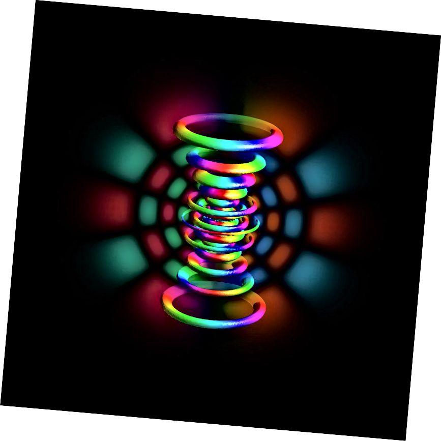 Атам вадароду, будаўнічы блок ядзерных працэсаў на Сонцы, у пэўным квантавым стане. Крэдыт малюнка: карыстальнік Wikimedia Commons Berndthaller, які мае ліцэнзію cca-sa 4.0.
