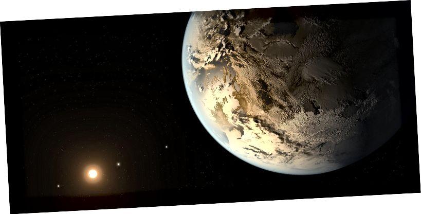 Umjetnički koncept Keplera 186f, planeta nalik Zemlji u naseljenoj zoni oko matične zvijezde. Kreditna slika: NASA