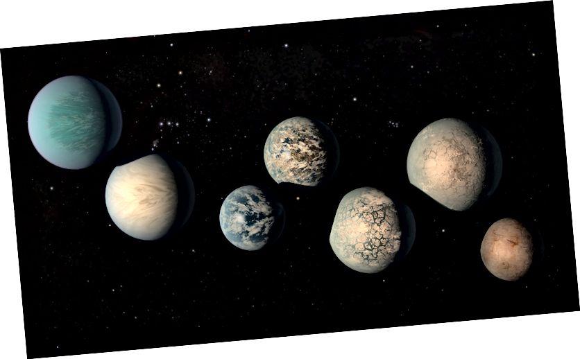 Sustav TRAPPIST-1 posjeduje najmanje sedam planeta, a neki od njih mogli bi imati i oceane mnogo veće od onih na Zemlji. Koncept ovog umjetnika prikazuje kako mogu izgledati na temelju najboljih dostupnih podataka. Kreditna slika: NASA / JPL-Caltech