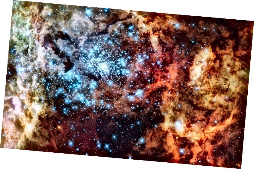 Cluster R136, die größte Gruppe neugeborener Sterne in unserer lokalen Galaxiengruppe, enthält die massereichsten Sterne, die wir je entdeckt haben: über 250-mal die Masse unserer Sonne für die größte. In den nächsten 1–2 Millionen Jahren wird wahrscheinlich eine große Anzahl von Supernovae aus dieser Region des Himmels kommen. (NASA, ESA und F. Paresce, INAF-IASF, Bologna, R. O'Connell, Universität von Virginia, Charlottesville, und das Wide Field Camera 3 Science Oversight Committee)