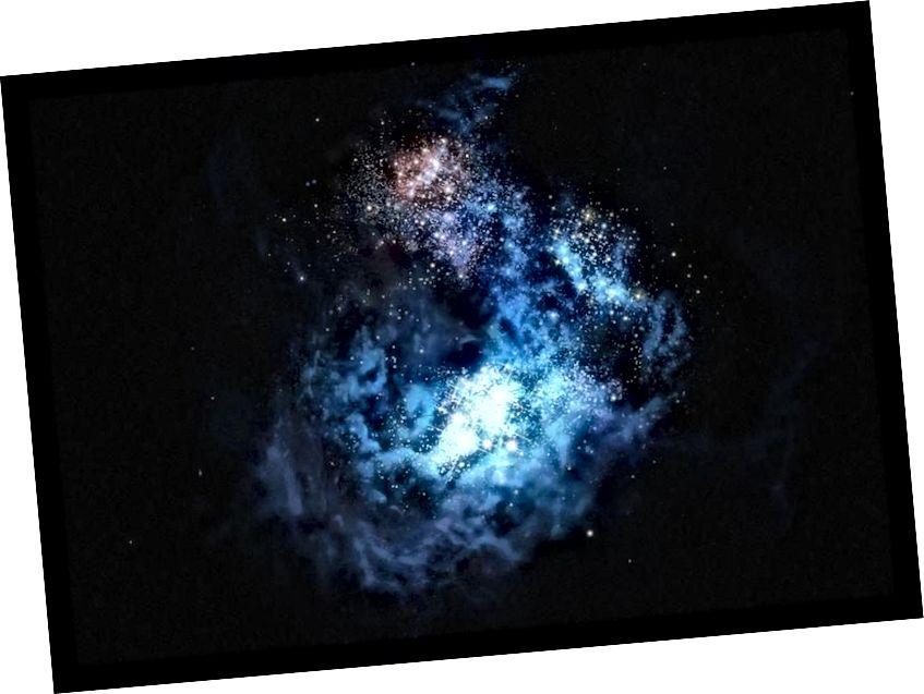 Illustration der fernen Galaxie CR7, die 2016 als bester Kandidat für eine unberührte Population von Sternen aus dem Material direkt aus dem Urknall entdeckt wurde. Eine der entdeckten Galaxien beherbergt definitiv Sterne; der andere hat sich vielleicht noch nicht gebildet. (M. Kornmesser / ESO)