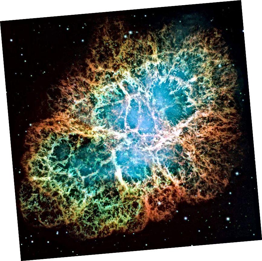 Ein optisches Komposit / Mosaik des Krebsnebels, aufgenommen mit dem Hubble-Weltraumteleskop. Die verschiedenen Farben entsprechen verschiedenen Elementen und zeigen das Vorhandensein von Wasserstoff, Sauerstoff, Silizium und mehr, die alle nach Masse getrennt sind. (NASA, ESA, J. Hester und A. Loll (Arizona State University))