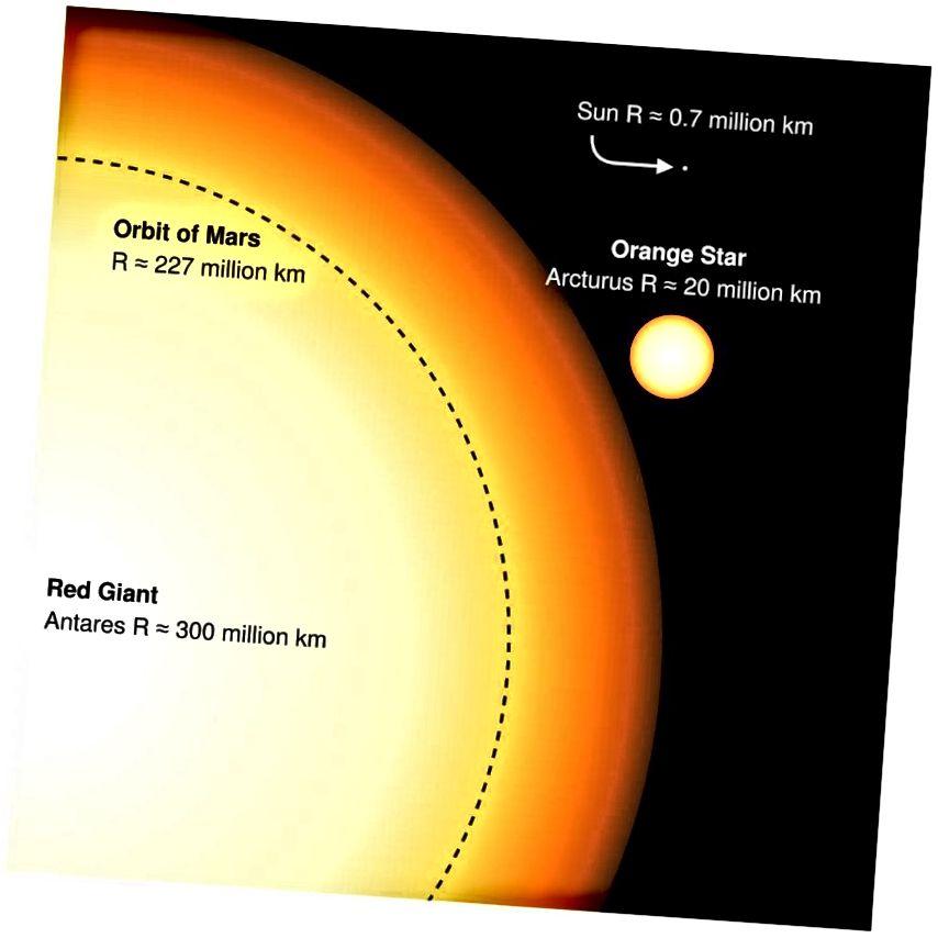 Die Sonne ist heute im Vergleich zu Riesen sehr klein, wird aber in ihrer roten Riesenphase die Größe von Arcturus erreichen. Ein monströser Überriese wie Antares wird für immer außerhalb der Reichweite unserer Sonne sein. (Englischer Wikipedia-Autor Sakurambo)